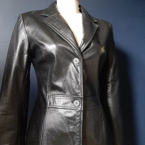 Black leather danier jacket medium